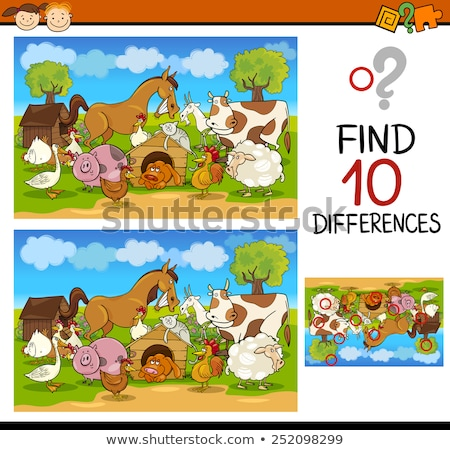 Diferencias educativo juego cómico animales de granja Cartoon Foto stock © izakowski