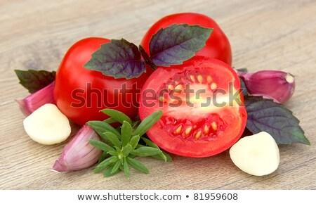 édes · fűszer · fából · készült · zöld · fokhagyma · paradicsomok - stock fotó © Masha