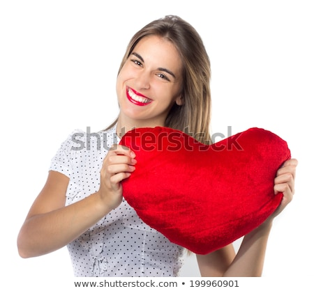 Blonde girl with toy heart at st. Valentine's day. Stock photo © Massonforstock