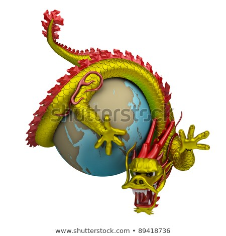 Chineza dragon in jurul glob 3D imagine izolat Imagine de stoc © AnatolyM