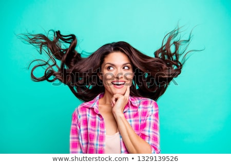 beautiful happy young woman with her arms in the air isolated o stock photo © dacasdo
