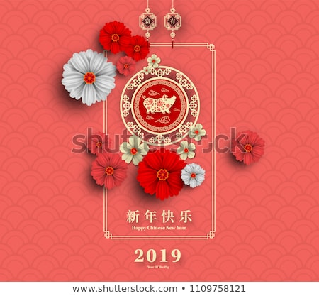 chino · estilo · nina · rojo · flor · pelo - foto stock © gaudiums
