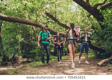casal · floresta · mulher · menina · mão · esportes - foto stock © photography33