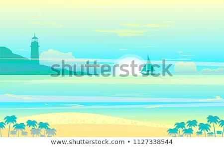 Tekneler tropikal plaj deniz feneri güneş doğa güvenlik Stok fotoğraf © ajlber