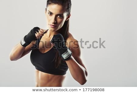 Nő harc hozzáállás piros üzlet öltöny Stock fotó © pzaxe
