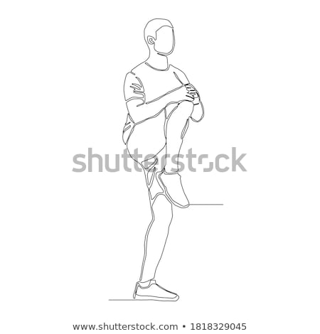 sportsman is stretch left leg and lift stock photo © vetdoctor