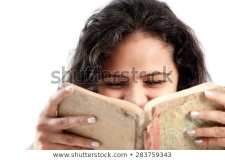 Indiano alegremente menina leitura livro jovem Foto stock © ziprashantzi