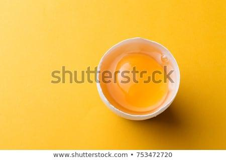 Tojások citromsárga tojássárgája izolált fehér vágási körvonal Stock fotó © Givaga