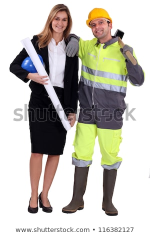 Female architect stood with manual worker Stock photo © photography33