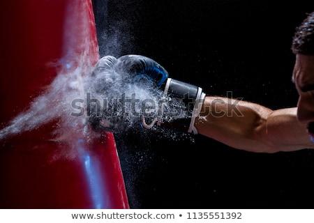 Sztrájk homokzsák kéz sportok tornaterem testmozgás Stock fotó © ozaiachin