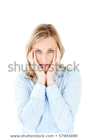Stockfoto: Zakenvrouw · naar · camera · witte · gelukkig