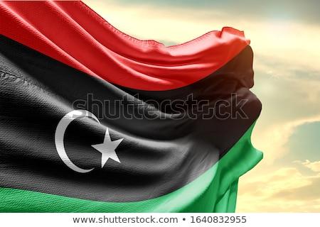 Libië kaart vlag zwarte land tekening Stockfoto © tshooter