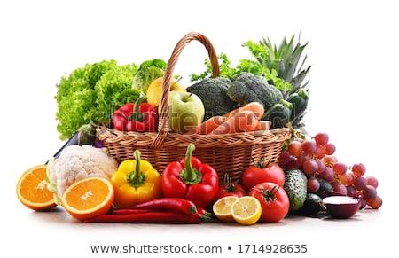 Válogatás zöldség háttér saláta kosár bors Stock fotó © M-studio