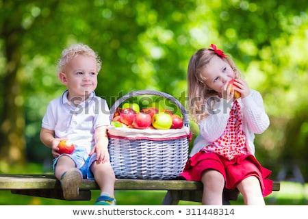 Kız oturma elma ağacı gülen kamera gıda Stok fotoğraf © aetb