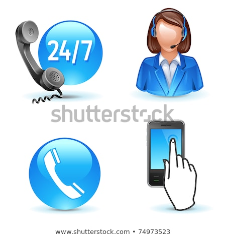 Blue phone receiver / Call center Stock photo © curvabezier
