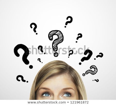 Beautiful woman with question mark Stock photo © gigra