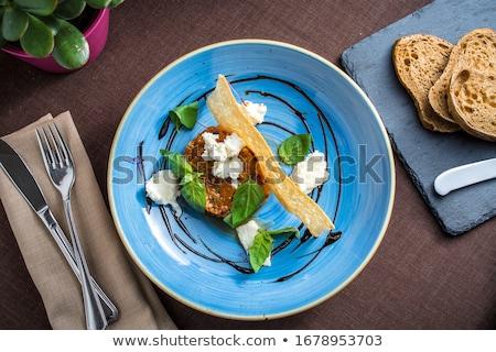Mozzarella tomates vidrio placa mesa de madera queso Foto stock © doupix