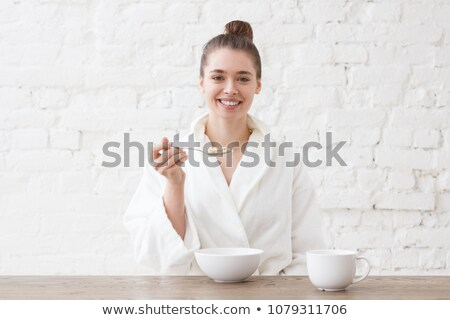 woman in white bathrobe Stock photo © ssuaphoto
