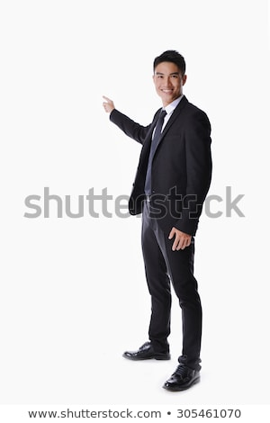 portret · knap · zakenman · wijzend · iets · witte - stockfoto © stepstock