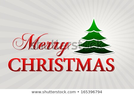 merry christmas with christmas tree over silver rays Stock photo © marinini