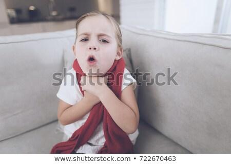 Dziewczyna czerwony szalik portret około szyi Zdjęcia stock © maros_b