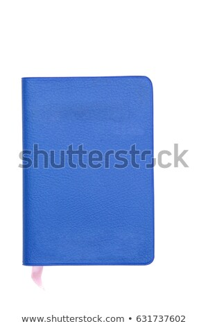 Blue Fake Leather Book Isolated On White Stok fotoğraf © vichie81