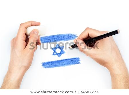 Handen potlood vlag Israël witte pen Stockfoto © vlad_star