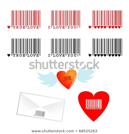 Stock fotó: Szív · piros · csíkok · Valentin · nap · vonalkód · üzlet