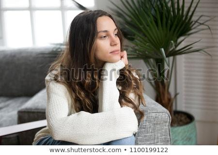 Komoly néz nő stúdió portré vonzó Stock fotó © ElinaManninen