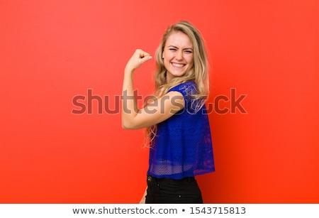 Kadın kırmızı duvar sutyen külot güzellik Stok fotoğraf © pdimages