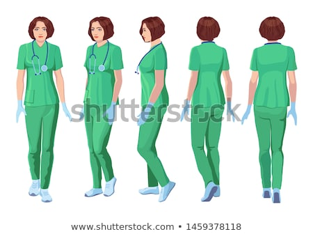 Young female physician turning back Stock photo © stockyimages