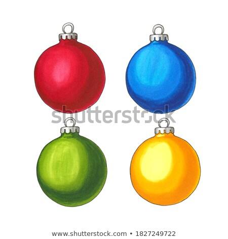 Natal vítreo azul bola enforcamento branco Foto stock © enlife