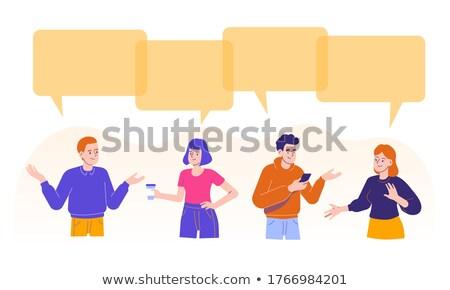 Rajz üzletasszony magyaráz gondolatbuborék üzlet kéz Stock fotó © lineartestpilot