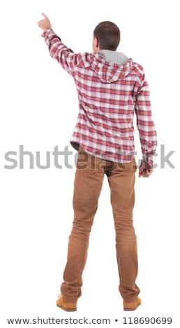 Retrato moço de volta um dedo para cima Foto stock © alexandrenunes