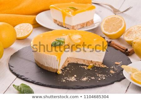 лимона · торт · ломтик · мята · один - Сток-фото © rojoimages