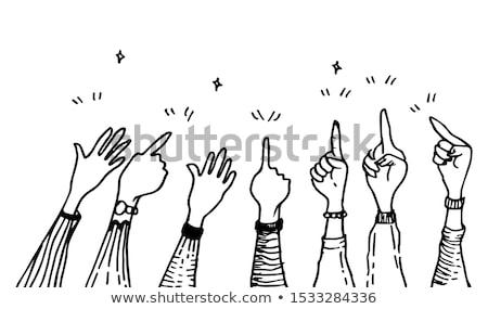 Doodle wijzend vinger icon Blauw pen Stockfoto © pakete
