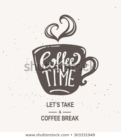 ヴィンテージ · コーヒーカップ · 木製のテーブル · カフェ · 茶 · プレート - ストックフォト © Avlntn