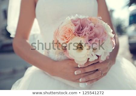 Stock fotó: Menyasszony · virágcsokor · esküvő · arc · divat · szépség