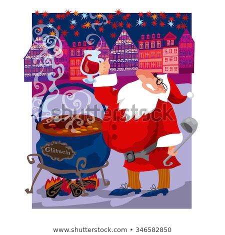 Stock photo: vector greeting curd illustration of santa (mulled wine)