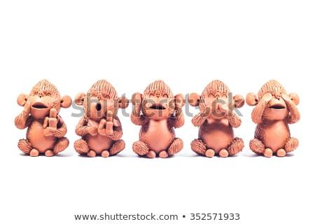 クローズアップ 猿 粘土 人形 孤立した 白 ストックフォト © punsayaporn