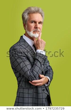 Senior imprenditore dubitare abstract ufficio blu Foto d'archivio © Kurhan