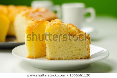 Madeira torta szeletek étel tányér desszert Stock fotó © Digifoodstock