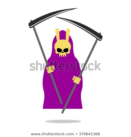 Bunny Death Purple Cloak And Scythe Grim Reaper With Rabbit S Stock foto © MaryValery