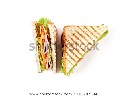 healthy ham sandwich with cheese tomatoes on white background stock photo © nezezon