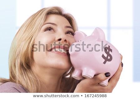 Nő malac érme bank felelős otthon Stock fotó © stevanovicigor