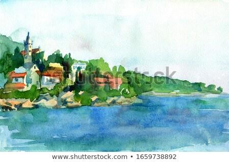 piedra · mediterráneo · costa · fuerte · agua · árbol - foto stock © mmarcol