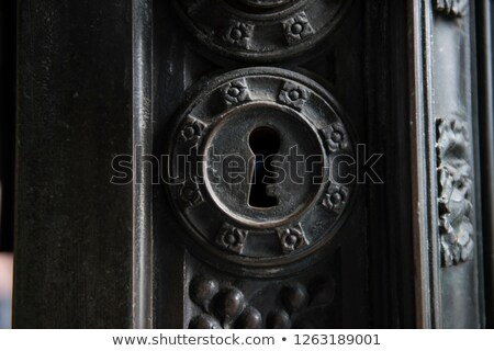 texture of old metal in hole close-up Stock photo © OleksandrO