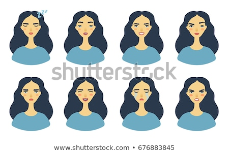 Sticker design with facial expressions Stock photo © bluering