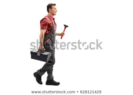 bouwvakker · loodgieter · cartoon · illustratie · pijpen - stockfoto © rastudio