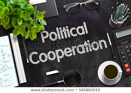Black Chalkboard with World Politics. 3D Rendering. Stock photo © tashatuvango